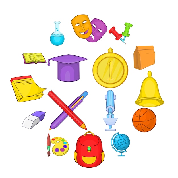 Набор иконок школы, мультяшном стиле Premium векторы