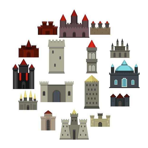 塔と城のアイコンをフラットスタイルに設定 Premiumベクター