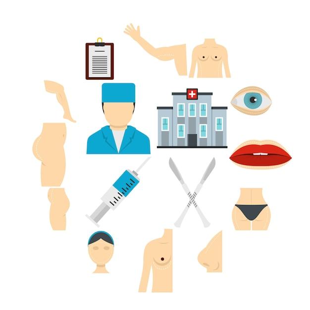整形外科医のアイコンはフラットスタイルに設定 Premiumベクター