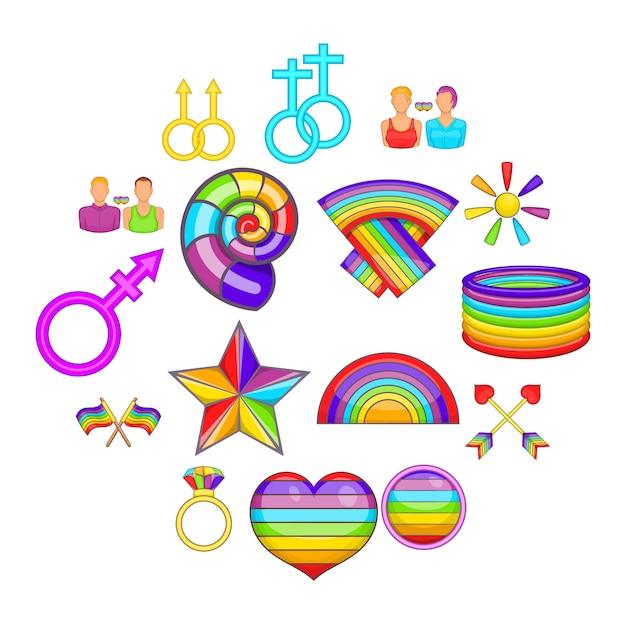 同性愛者のアイコンを設定、漫画のスタイル Premiumベクター