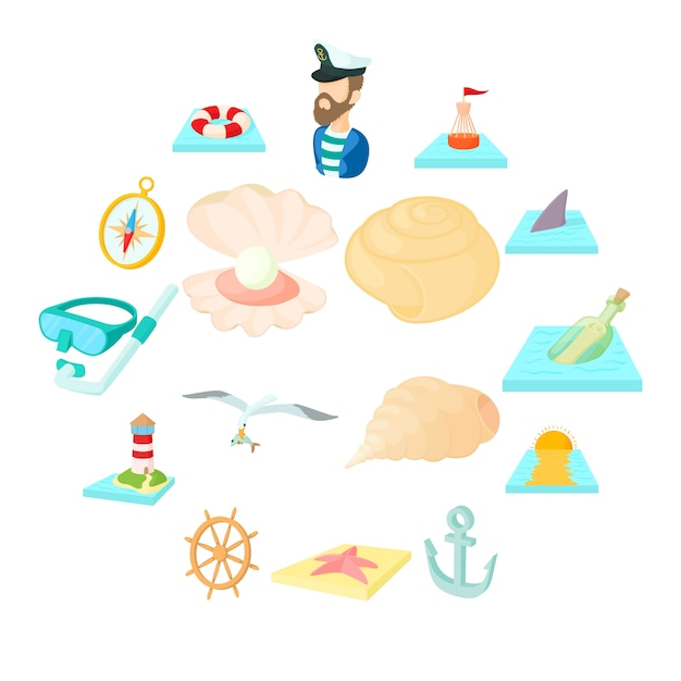 Набор морских иконок, мультяшном стиле Premium векторы