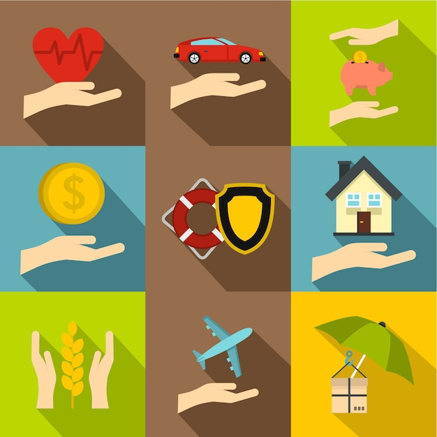 保険のアイコンセット、フラットスタイル Premiumベクター