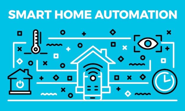 スマートホームオートメーションバナー、アウトラインのスタイル Premiumベクター