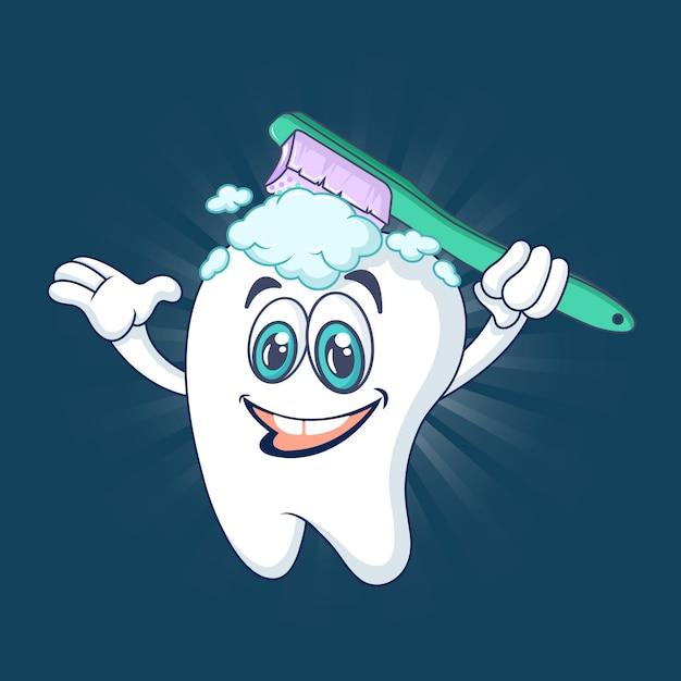 健康的な幸せな歯のコンセプト、漫画のスタイル Premiumベクター