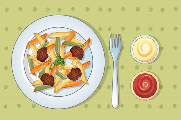 Итальянская вкусная паста в мультяшном стиле Premium векторы