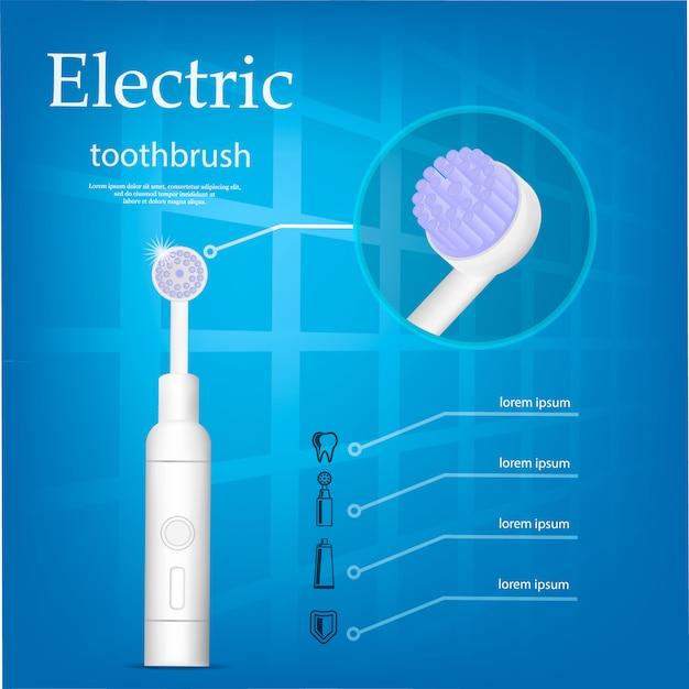 Концепция электрической зубной щетки, реалистичный стиль Premium векторы