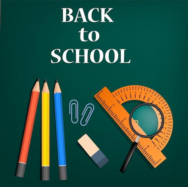 学校の緑の概念、現実的なスタイルに戻る Premiumベクター