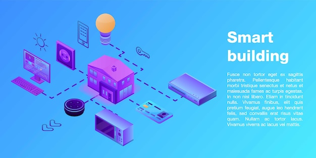 スマートビルディングコンセプトバナー、アイソメ図スタイル Premiumベクター