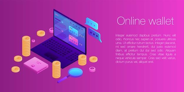 オンライン財布コンセプトバナー、アイソメ図スタイル Premiumベクター