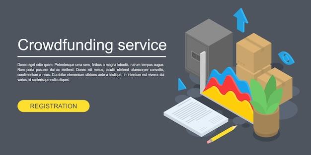 クラウドファンディングサービスコンセプトバナー、アイソメ図スタイル Premiumベクター