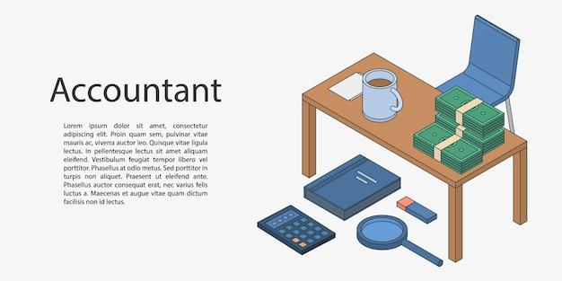 Баннер концепция рабочего стола бухгалтера, изометрический стиль Premium векторы