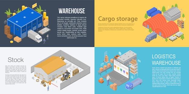 倉庫建物バナーセット、アイソメ図スタイル Premiumベクター