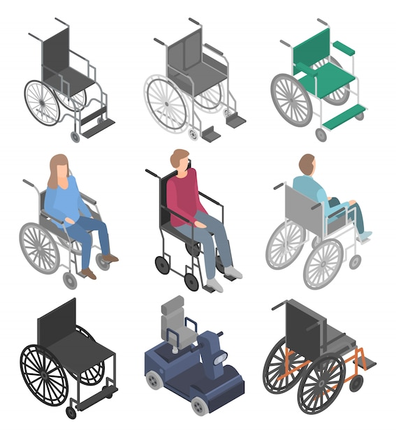 車椅子のアイコンセット、アイソメ図スタイル Premiumベクター