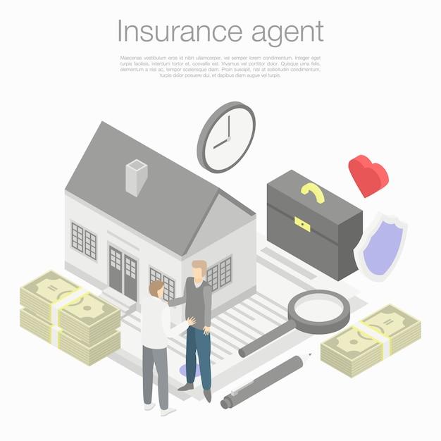Концепция страхового агента, изометрический стиль Premium векторы