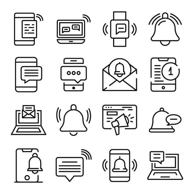 Набор иконок уведомлений, стиль контура Premium векторы