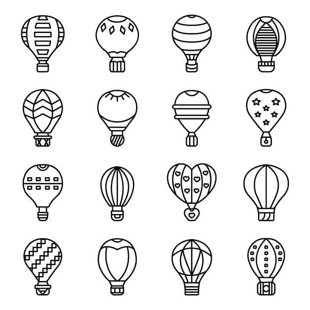 気球のアイコンを設定、アウトラインのスタイル Premiumベクター