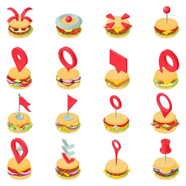 ハンバーガーステーキアイコンセット、アイソメ図スタイル Premiumベクター