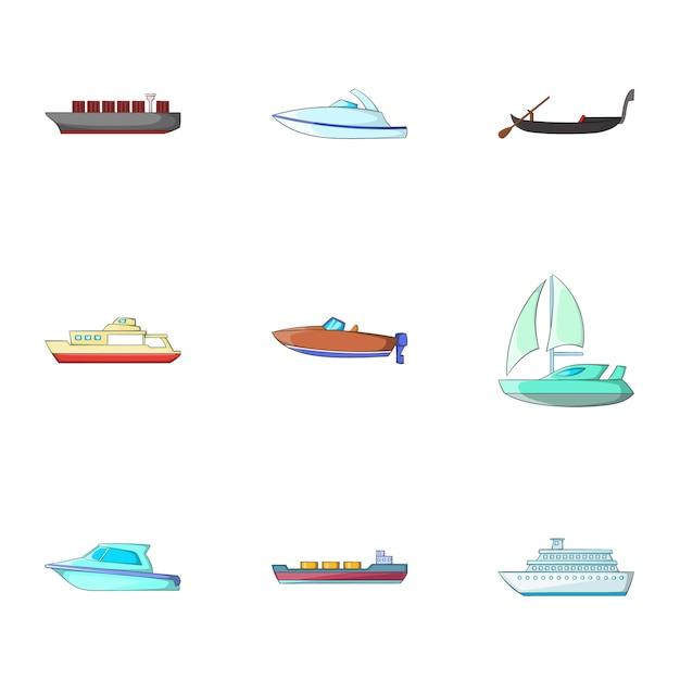 Морской транспортный набор, мультяшный стиль Premium векторы