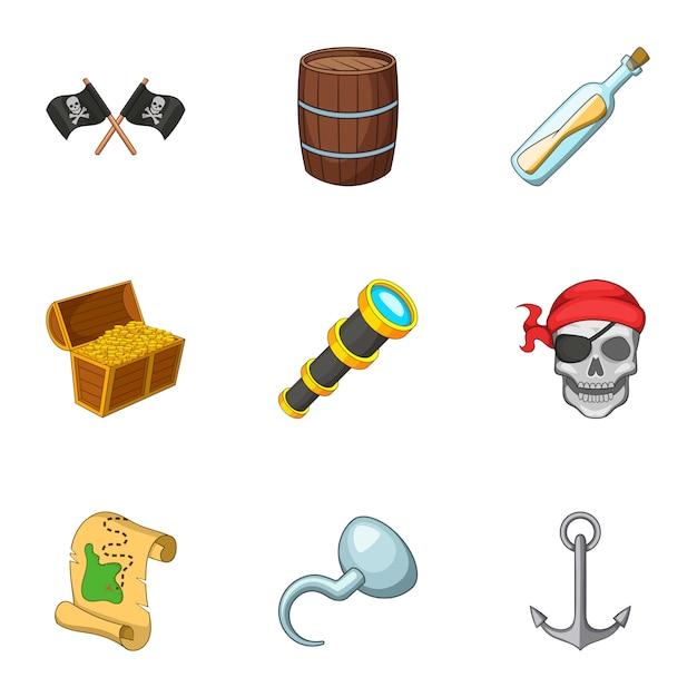海賊装備セット、漫画のスタイル Premiumベクター