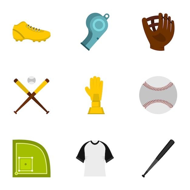 Бейсбольный набор, плоский стиль Premium векторы