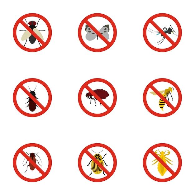 昆虫記号セット、フラットスタイル Premiumベクター