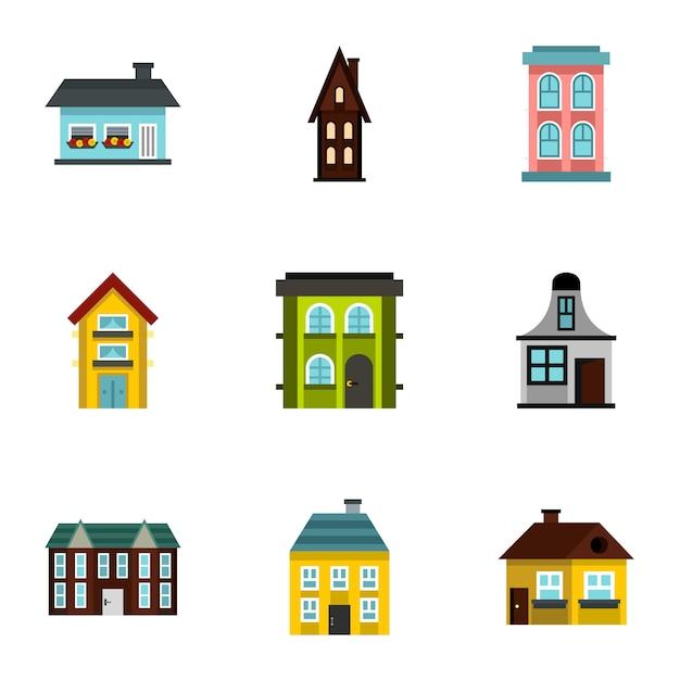 Дом, плоский стиль Premium векторы