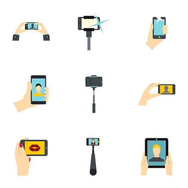 Съемка на сотовый телефон, плоский стиль Premium векторы