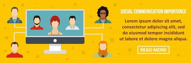 社会的コミュニケーション重要バナーテンプレート水平コンセプト Premiumベクター