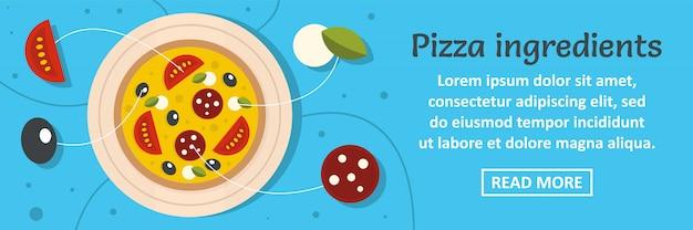 ピザ食材バナーテンプレート水平コンセプト Premiumベクター