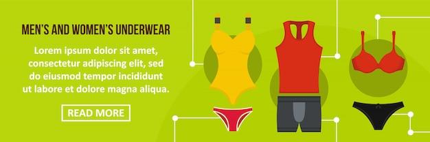 男性と女性の下着バナーテンプレート水平コンセプト Premiumベクター