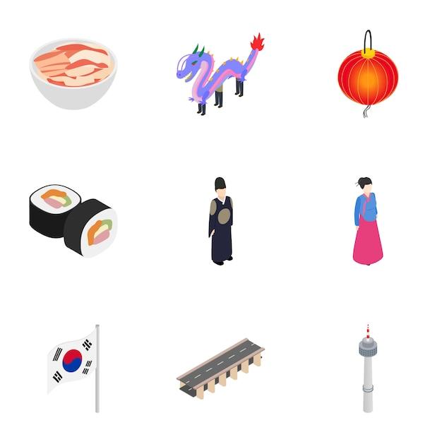 Набор иконок для поездки в южную корею Premium векторы