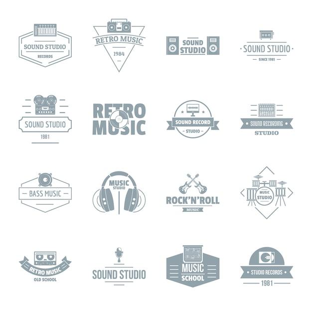 Набор иконок логотипа музыкальной студии Premium векторы