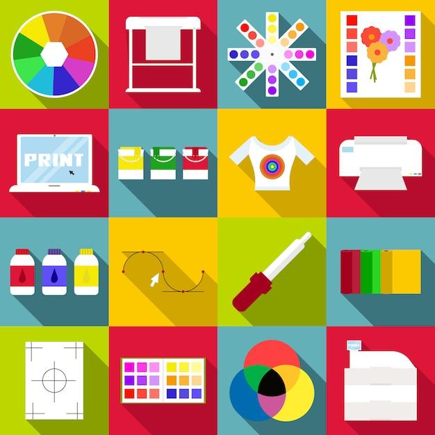 Набор иконок для печати предметов, плоский стиль Premium векторы