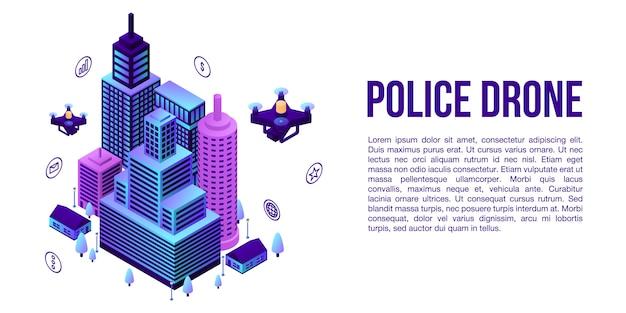 市警察ドローンコンセプトバナー、アイソメ図スタイル Premiumベクター