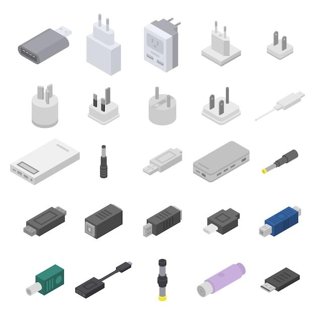 アダプターのアイコンセット、アイソメ図スタイル Premiumベクター