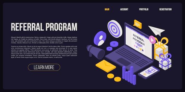 紹介プログラムコンセプトバナー、アイソメ図スタイル Premiumベクター