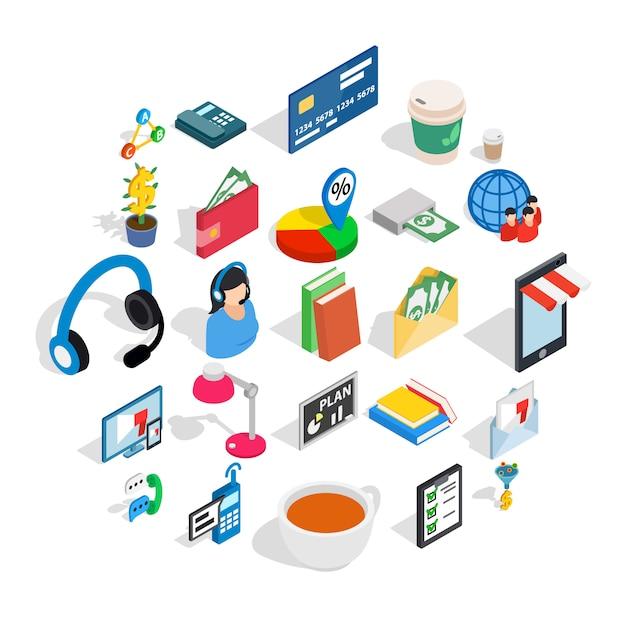 ビジネスコミュニケーションのアイコンセット、アイソメ図スタイル Premiumベクター
