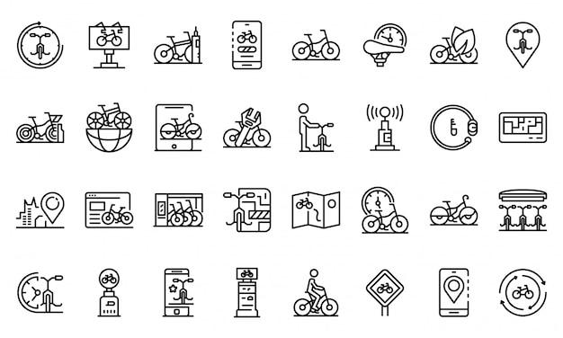 自転車のアイコンセット、アウトラインのスタイルを借りる Premiumベクター