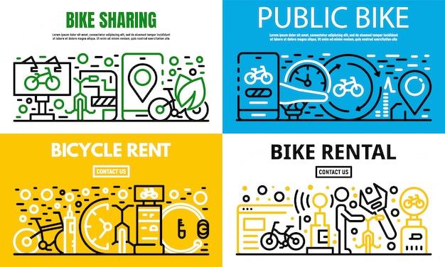 都市レンタル自転車バナーセット、アウトラインスタイル Premiumベクター