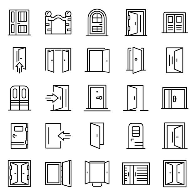 Набор иконок для входа, стиль контура Premium векторы