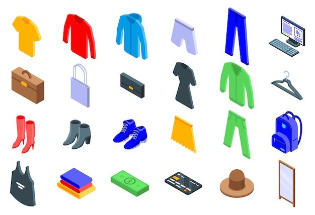 衣料品店のアイコンセット、アイソメ図スタイル Premiumベクター