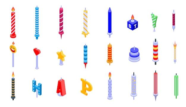 Набор иконок день рождения свечи, изометрический стиль Premium векторы