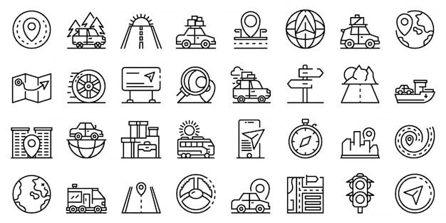 Набор иконок поездки автомобиля, стиль контура Premium векторы
