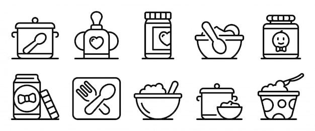 Набор иконок для детской кухни, стиль контура Premium векторы
