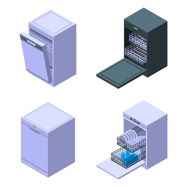 Набор иконок для посудомоечной машины, изометрический стиль Premium векторы