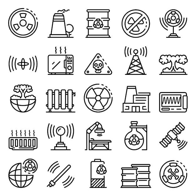 Набор иконок радиации, стиль контура Premium векторы