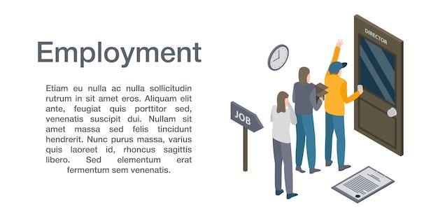 雇用概念バナー、アイソメ図スタイル Premiumベクター