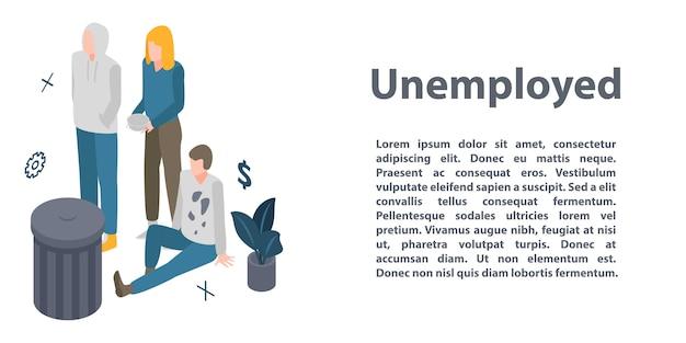 失業コンセプトバナー、アイソメ図スタイル Premiumベクター