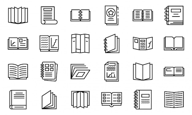 Набор иконок каталога, стиль контура Premium векторы