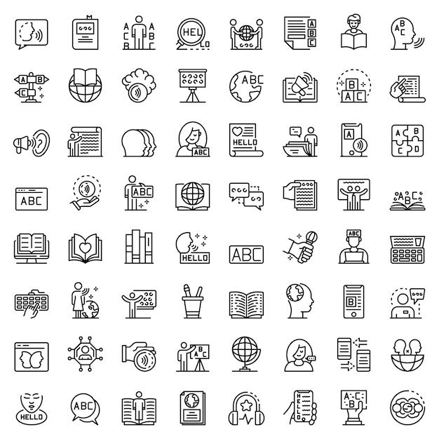 Набор иконок лингвиста Premium векторы